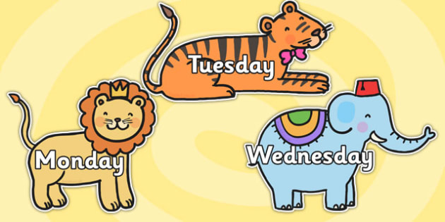 Days of the Week on Cute Animals - days, weeks, animals, display