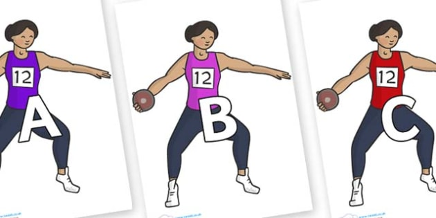 A-Z Alphabet on Discus - A-Z, A4, display, Alphabet frieze, Display letters, Letter posters, A-Z letters, Alphabet flashcards
