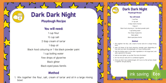 Dark, Dark Night Playdough Recipe