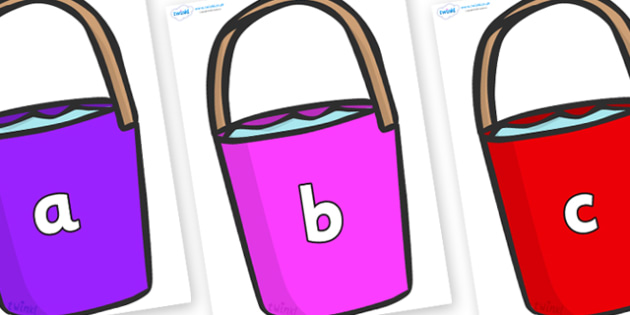Phase 2 Phonemes on Buckets - Phonemes, phoneme, Phase 2, Phase two, Foundation, Literacy, Letters and Sounds, DfES, display