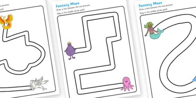Fantasy Pencil Control Path Worksheets - fantasy, pencil control, fine motor skills, fantasy worksheet, pencil control worksheets, worksheets, pencil work