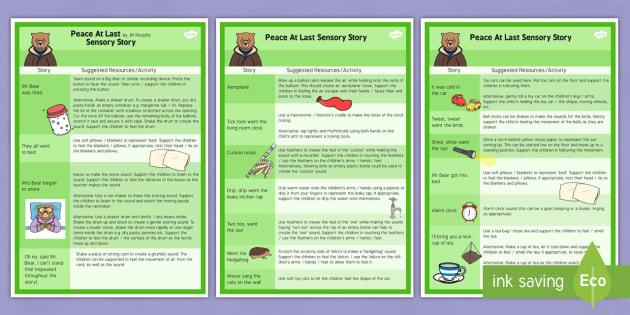 Peace at Last Sensory Story - sensory, story, peace at last