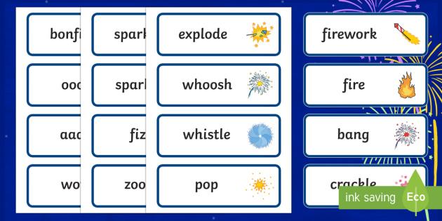 Bonfire Night Fireworks Word Cards - bonfire night, fireworks, word cards, themed word cards, words, letters, flash cards, key words, word flash cards