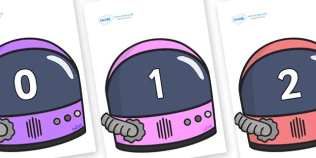 Numbers 0-31 on Astronaut Helmet - 0-31, foundation stage numeracy, Number recognition, Number flashcards, counting, number frieze, Display numbers, number posters