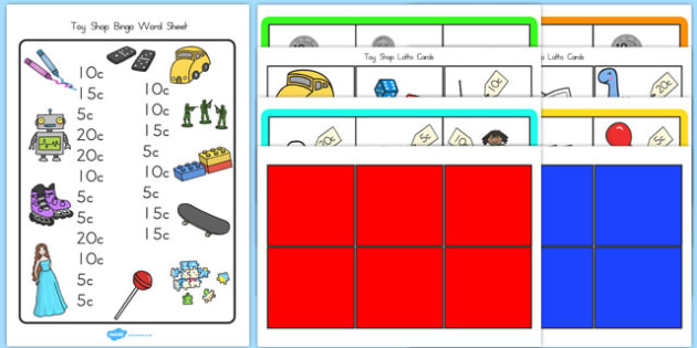 Toy Shop Bingo Pack Up to 20 - australia, toy shop, bingo, pack, 20, activity, game