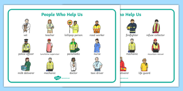People Who Help Us Word Bank - People who help us, Display, Word mat, Key words, Role Play, Doctor, Nurse, Teacher, Police, Fire fighter, Paramedic, Builder, Caretaker, Lollipop, Traffic Warden, Lunchtime supervisor, lunch time assistant, midday assi