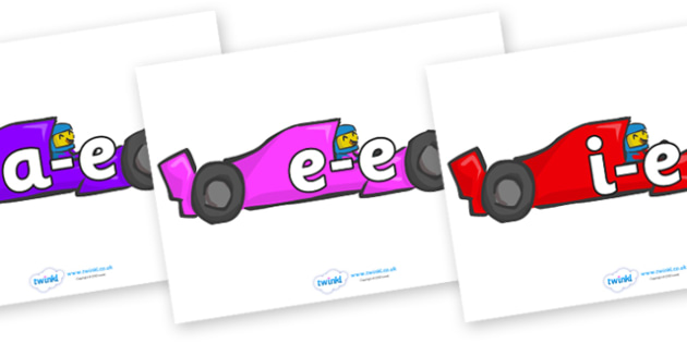 Modifying E Letters on Racing Cars - Modifying E, letters, modify, Phase 5, Phase five, alternative spellings for phonemes, DfES letters and Sounds
