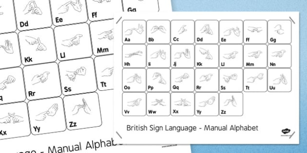 Black and White British Sign Language Alphabet Large Posters