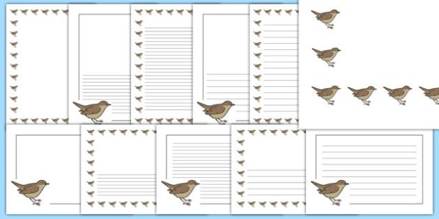 Nightingale Themed Page Borders - nightingale, themed, page borders, page, borders