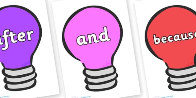 Connectives on Lightbulbs (Multicolour) - Connectives, VCOP, connective resources, connectives display words, connective displays