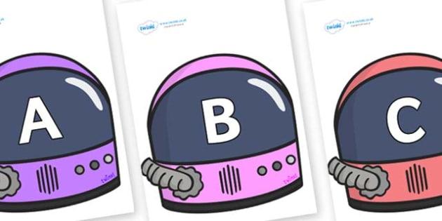 A-Z Alphabet on Astronaut Helmet - A-Z, A4, display, Alphabet frieze, Display letters, Letter posters, A-Z letters, Alphabet flashcards