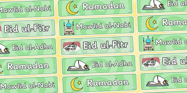 Islam Celebration Display Banner Pack - Islam, religion, faith, muslim, mosque, allah, God, RE, five pillars, mohammad