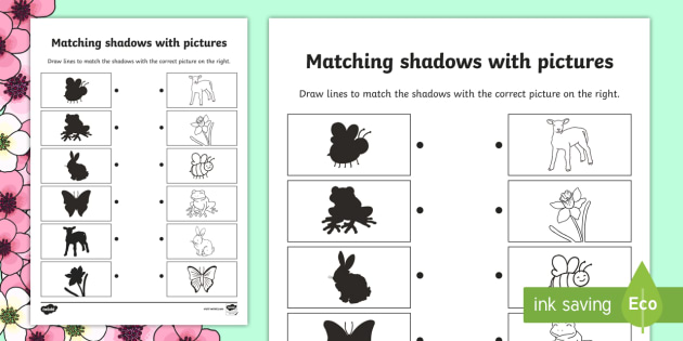 Spring Shadow Matching Worksheet - shadows, silhouettes, match