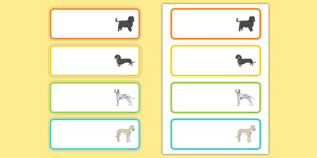 Dog Themed Editable Drawer Peg Name Labels - Dame Lynley Dodd, hairy maclary, editable, drawer, peg, name, labels, display