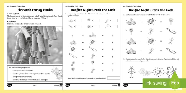 Firework Frenzy Maths Activity Sheet