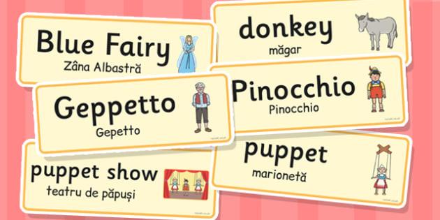 Pinocchio Word Cards Romanian Translation - romanian, pinocchio