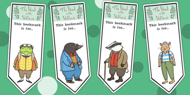 The Wind in the Willows Editable Bookmarks - bookmarks, book