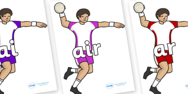 Phase 3 Phonemes on Handball Players - Phonemes, phoneme, Phase 3, Phase three, Foundation, Literacy, Letters and Sounds, DfES, display