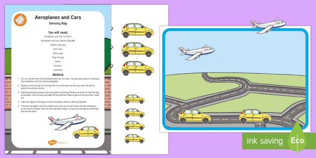Aeroplanes and Cars Sensory Bottle - Maths, Mathematics, Height, Sensory Play, Long, Short, High, Low, vehicles, transport,