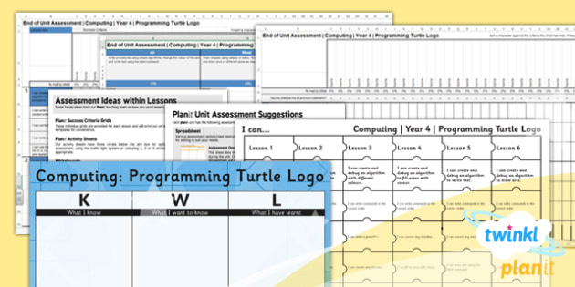 Computing: Programming Turtle Logo Year 4 Unit Assessment Pack
