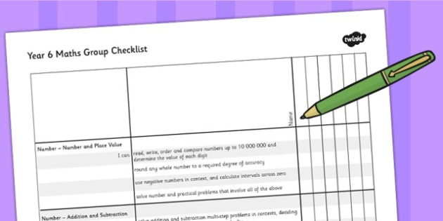 2014 Curriculum Year 6 Maths Assessment Group Checklist - numeracy