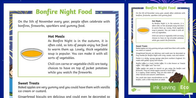 KS1 Bonfire Night Food Differentiated Fact File