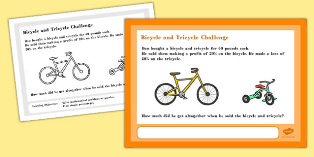 Bicycle and Tricycle Maths Challenge A4 Display Posters - poster