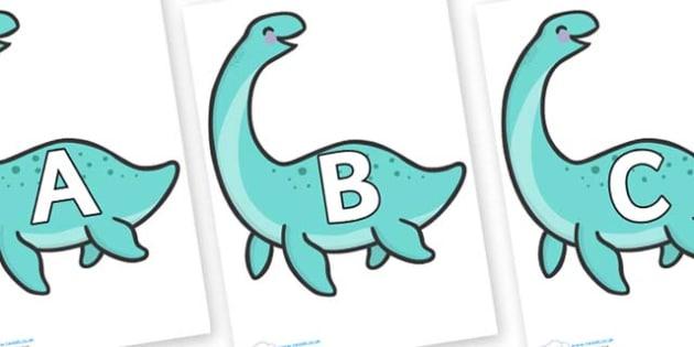 A-Z Alphabet on Pleseosaur Dinosaurs - A-Z, A4, display, Alphabet frieze, Display letters, Letter posters, A-Z letters, Alphabet flashcards