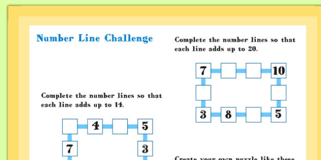 A4 KS1 Number Line Maths Challenge Poster - Maths, Numbers, Line