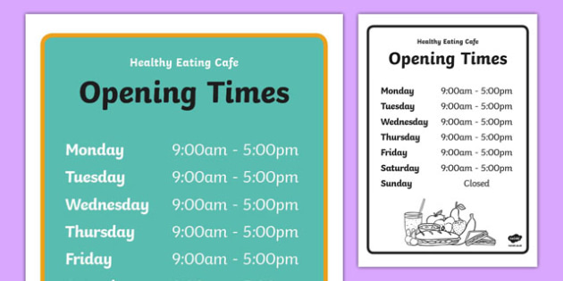 Healthy Eating Cafe Role Play Opening Times - healthy eating caf