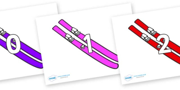 Numbers 0-100 on Skis - 0-100, foundation stage numeracy, Number recognition, Number flashcards, counting, number frieze, Display numbers, number posters
