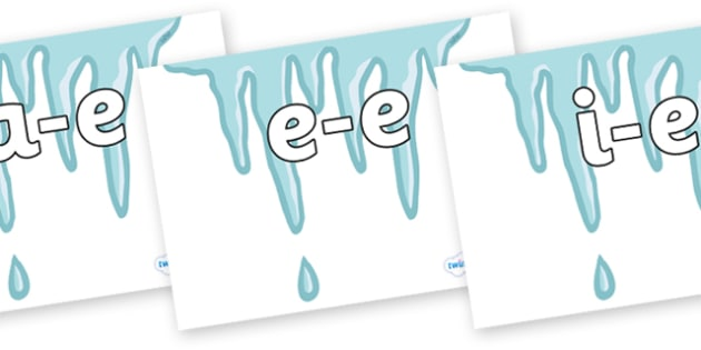 Modifying E Letters on Icicles - Modifying E, letters, modify, Phase 5, Phase five, alternative spellings for phonemes, DfES letters and Sounds