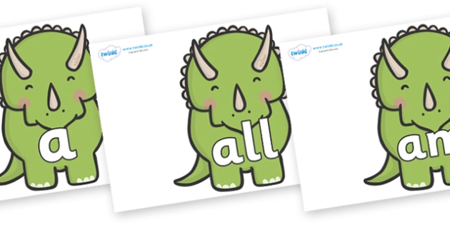 Foundation Stage 2 Keywords on Triceratops Dinosaurs - FS2, CLL, keywords, Communication language and literacy,  Display, Key words, high frequency words, foundation stage literacy, DfES Letters and Sounds, Letters and Sounds, spelling