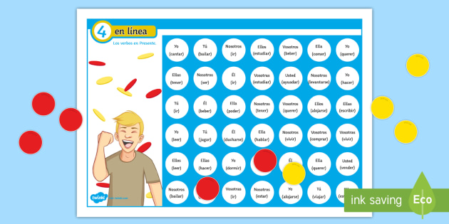 Four in a Row Present Tense Self Checking Board Game Spanish - Spanish Grammar, verbs, conjugation, 4 in a row, 4 en raya, board game, present tense