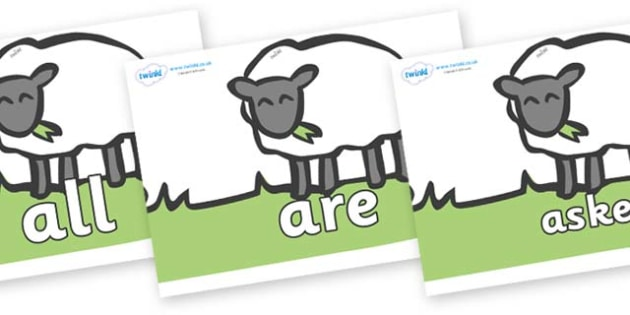 Tricky Words on Sheep to Support Teaching on Pig in the Pond - Tricky words, DfES Letters and Sounds, Letters and sounds, display, words