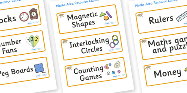 Jaguar Themed Editable Maths Area Resource Labels - Themed maths resource labels, maths area resources, Label template, Resource Label, Name Labels, Editable Labels, Drawer Labels, KS1 Labels, Foundation Labels, Foundation Stage Labels, Teaching Labe