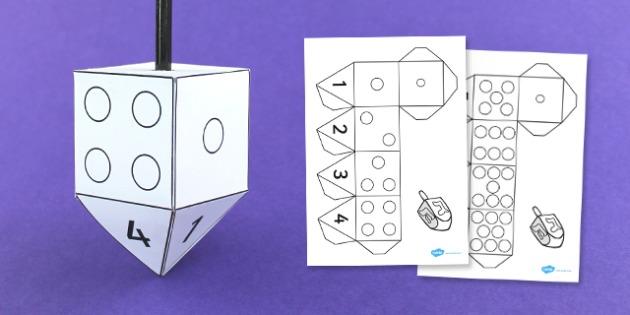 Dreidel Dice Net - dreidel, dice, net, game, activity, cut out