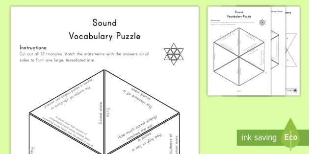 Sound Vocabulary Puzzle - science, science vocabulary, key words, puzzle, word work