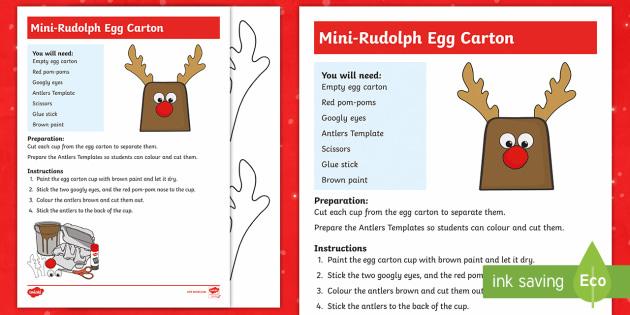 Mini-Rudolph Egg Carton Craft Instructions - Canada Christmas, christmas, reindeer, christmas craft, easy christmas craft, rudolph