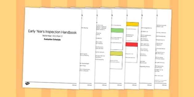 Early Years Inspection Handbook September 2015 Part 2 Evaluation Schedule - slt, smt, senior, leader, leadership, management, team, notes, information, guide, detail, record, explain, write, evaluate,