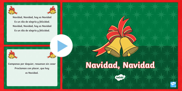 Jingle Bells Christmas Carol Lyrics PowerPoint - Spanish - Christmas, spanish, jingle, bells, lyrics, powerpoint, navidad