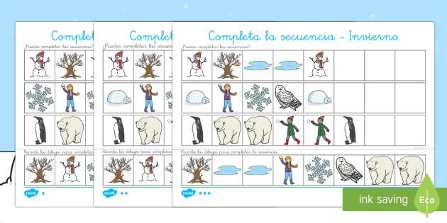 El invierno Fichas para completar la secuencia