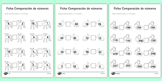 Ficha Comparación de números Spring Number Comparison Worksheet Spanish - spanish, spring, number comparison, worksheet, number, comparison