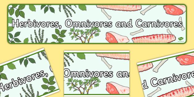Herbivores Omnivores and Carnivores Display Banner - Banners