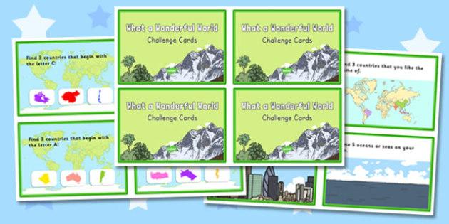 What a Wonderful World Challenge Cards - wonderful world, challenge