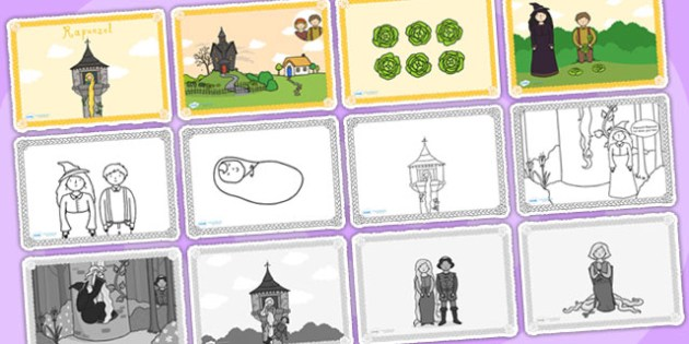 Rapunzel Story Sequencing (Speech Bubbles - 4 per A4) - Rapunzel, sequencing, prince, witch, tower, long hair, fairytale, traditional tale, Brothers Grimm, tower, woods, forest, prince, let down your hair, story, story sequencing