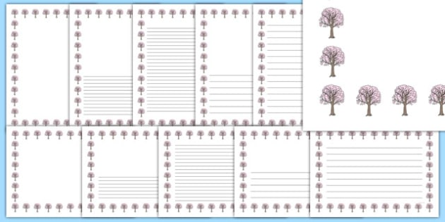 Cherry Tree Themed Page Borders - cherry tree, themed, page borders, page, borders, cherry, tree