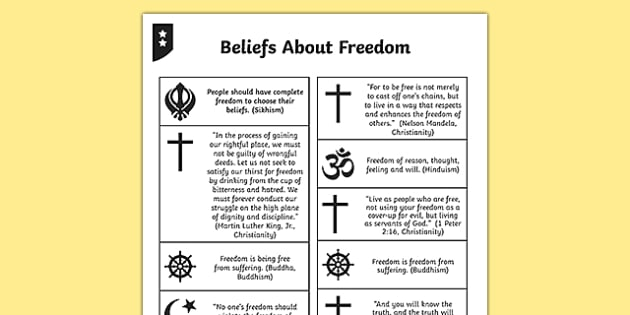 Beliefs About Freedom Differentiated Activity Sheets
