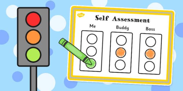 Child Self-Assessment Sheet Traffic Lights - self-assessment