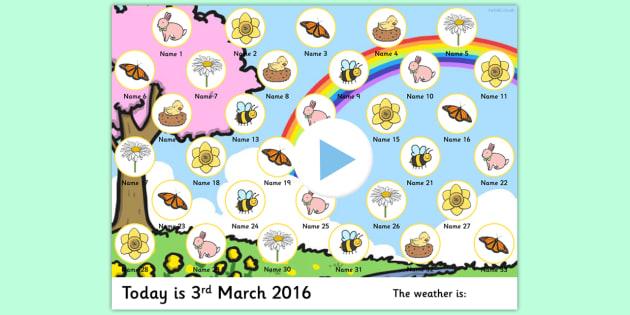 Spring Themed Self Registration Flipchart - spring, self reg